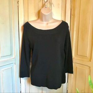 Black stretch wide neckline top